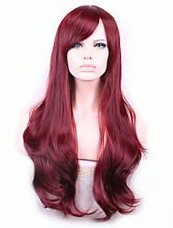 Europe And The United States Wine Red 26 inch High Temperature Curly Hair Silk Wig