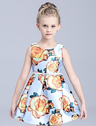 Girl's Floral Dress,Rayon Summer Multi-color / Purple / White