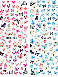 2pcs Nail Design Water Transfer Nails Art Sticker Colorful Butterfly Nail Wraps Sticker Watermark Fingernails Decals