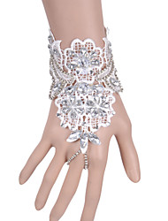 White Wrist Length Fingerless Glove Lace Bridal Gloves / Party/ Evening Gloves Ring Bracelet(1pc)