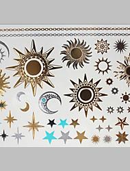 nouveau mode d'estampage à chaud non-toxique de grande taille hawaïen star soleil sécuritaire tatouage imperméable autocollants