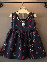 Girl's Blue / White Dress,Print Cotton / Polyester Summer