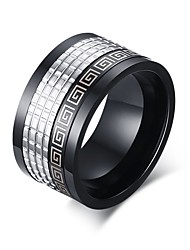Black Grid Lines Titanium Steel Men's Ring Back