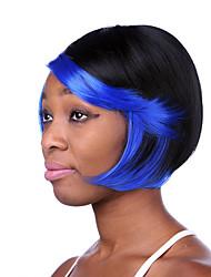 parti perruques synthétiques de haute qualité multi-couleur courte ligne droite femme