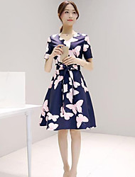 Women's Vintage Print A Line Dress,V Neck Knee-length Polyester