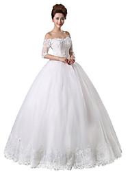 Princess Wedding Dress-Floor-length Off-the-shoulder Lace / Tulle