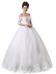 Принцесса Свадебное платье В пол Приспущенные плечи Кружева / Тюль с Бусины