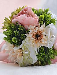 Fleurs de mariage Noué à la main / Forme libre Roses / Pivoines Bouquets Mariage / Le Party / soiréePolyester / Satin / Organza /