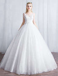 Ball Gown Wedding Dress Floor-length Scoop Lace / Tulle with Appliques / Lace