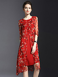 Women's Vintage / Simple Print Plus Size / Sheath Dress,Round Neck Knee-length