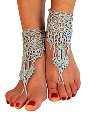 Women's Beach Wear Crochet Cotton Bracelet Net New Style Ankle Chain  Barefoot Sandals