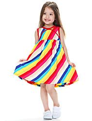 Girl's Multi-color Dress,Striped Cotton Summer