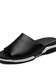 Sapatos Masculinos-Sandálias-Preto / Branco / Preto e Vermelho-Tecido-Casual
