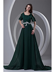 Formal Evening Dress - Elegant A-line Straps Court Train Chiffon with Appliques Beading Pleats