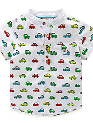 Child Baby Boy Stand Collar Striped T-shirt Casual Tops Kids Car Printed Tee Shirt
