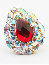 Court Retro Droplets Palace Wind High-grade Red Crystal Emerald Ring