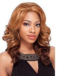 20 pouces femmes longue vague corps bouclés cheveux synthétiques perruque brune avec ombre sans filet à cheveux