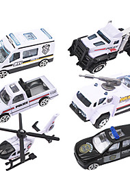 Dibang - New police series of children's toys alloy police car model toy car (6PCS)