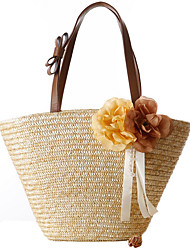 Women Summer Solid Color Beige Woven Bag Handbag Straw Bag Beach Bag