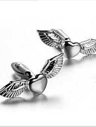 Men's Fashion Flying Heart Silver Alloy French Shirt Cufflinks (1-Pair)