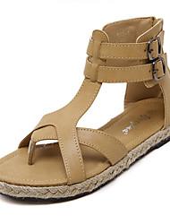 Calçados Femininos-Sandálias-Plataforma / Chinelos-Rasteiro-Preto / Marrom-Courino-Social