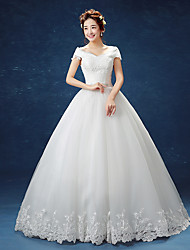 Ball Gown Off-the-shoulder Floor Length Lace Satin Tulle Wedding Dress with Lace by JUEXIU Bridal