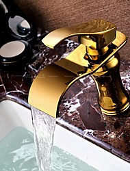 Deck Mounted Bathroom Sink Faucet Basin Mixer Tap Single Handle Gold Finished Luxury