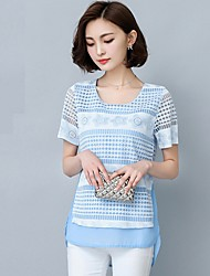 Women's Patchwork Blue / Pink Blouse,Round Neck Short Sleeve