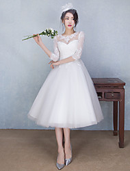 A-line Wedding Dress See-Through Tea-length Jewel Lace Tulle with Appliques Beading