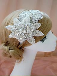White Crystal Handmade Flower Ribbon Satin Hair Jewelry Headband for Wedding