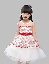 A-line Knee-length Flower Girl Dress-Cotton / Tulle Sleeveless
