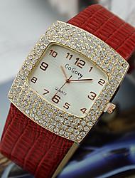 Mulheres Relógio de Moda Quartzo imitação de diamante Lega Banda Preta Branco Vermelho Marrom Rosa Branco Preto Marron Vermelho Rosa claro