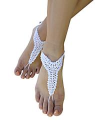plage crochet élégant modèle de cobweb simples cheville sandales aux pieds nus des femmes