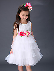 Girl's Cotton Summer Flowers  Layered Dress  Jumper Skirt  Lace Dress