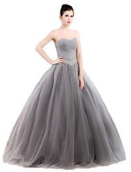 Ball Gown Strapless Floor Length Tulle Stretch Satin Formal Evening Dress with Crystal Detailing by MMHY
