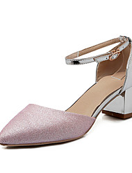 Women's Shoes Chunky Heel Pointed Toe Sandals Wedding / Party & Evening / Dress Pink / Silver / Gold