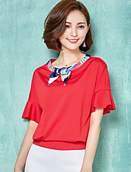 Women's Color Block Pink / Red / White / Orange Blouse,Round Neck ½ Length Sleeve
