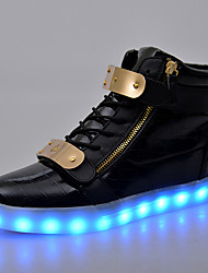 LED Light Up Shoes, Running Shoes Men's Shoes / Athletic / Casual Patent Leather Fashion Sneakers Black / White