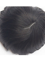 Thin Skin Instock 100% Brazilian Virgin Hair Natural Color Black Natural Straight Human Hair Toupee for Men