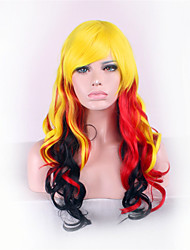 Europe And The United States The New Anime Wigs Yellow Mixed Color 26 inch High Temperature Wire Short Curly Wig