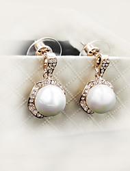 Noble Style Big Pearl Pendant Rose Gold Diamond Lady Earrings