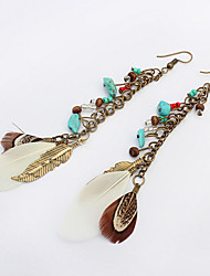 Earring Leaf Drop Earrings Jewelry Women Vintage Party / Daily / Casual 1 pair Bronze / White