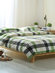 Green and gray plaid Washed Cotton Bedding Sets Queen King Size Bedlinens 4pcs Duvet Cover Set