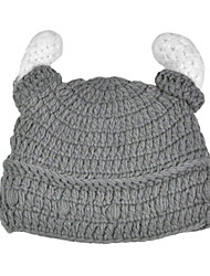 Men Knitwear Hand-knit Gray Wool Pirate Horns Hat