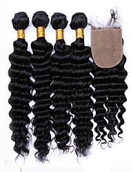 vague profonde brésilienne de cheveux vierge 100% non transformés vague profonde cheveux vierge 4 bundls avec un 5pcs de fermeture de soie