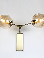 2 Heads Modern Glass Dining Room  Brushed Gold Wall Lights Simple Kitchen Wall Lamps Bar Cafe Hallway Balcony Wall Lamp