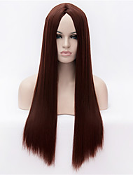 The New  Wig  Red in  Dark Brown Long Straight Hair Wigs 30 Inch