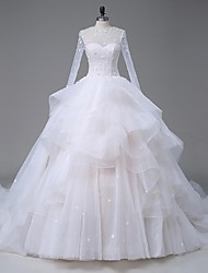 A-Line Illusion Neckline Cathedral Train Organza Satin Tulle Wedding Dress with Crystal Beading Appliques Lace