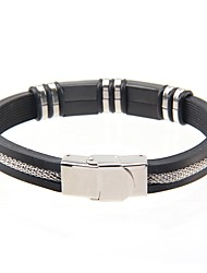 Cool Man  Leather Bracelets With 316L Stainless Steel Charm Design Bangles for Men