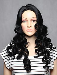capless longo sintéticos de cor preta onduladas mulheres sintéticas perucas